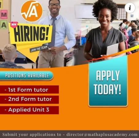Math A+ Academy, Barbados, Jobs