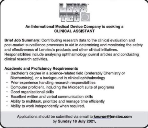Clinical Assistant Barbados Job