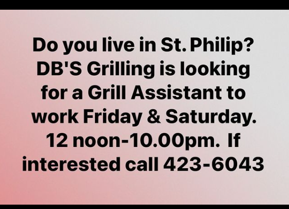 DB'S Grilling, Grill Assistant, Job, Barbados