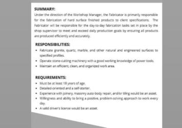 AMG stone specialists, Fabricator/Installer, Barbados, job
