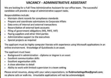 Fluid Marketing International Inc, Barbados, Job, Administrative Assistant