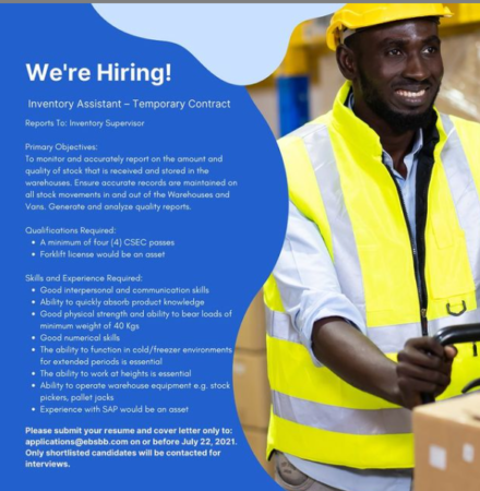 Inventory Assistant, Jobs, Barbados
