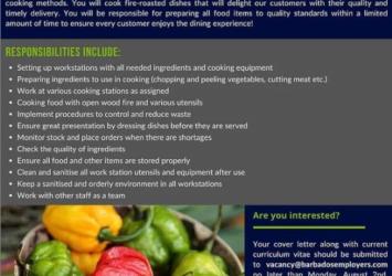 Roast Pit Cook, Jobs Barbados