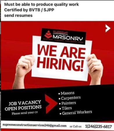 Supreme Construction Services, Job, Barbados, Masonry