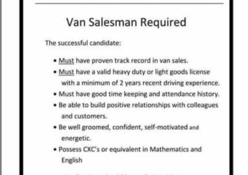 Van Salesman, Jobs, Barbados