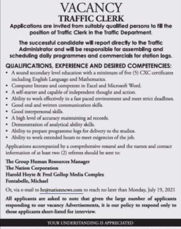 Traffic Clerk Barbados Job