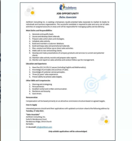 Sales Associate, Ashthom Consulting Inc, Barbados, Job