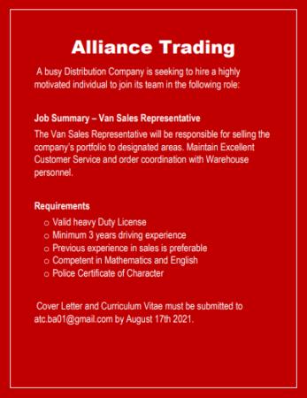 Van Sales Representative, Jobs, Barbados