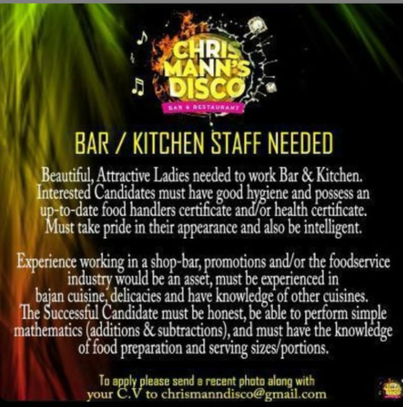 Bar staff, Barbados, Jobs