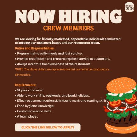 Burger King, Barbados, Jobs, Crew Members