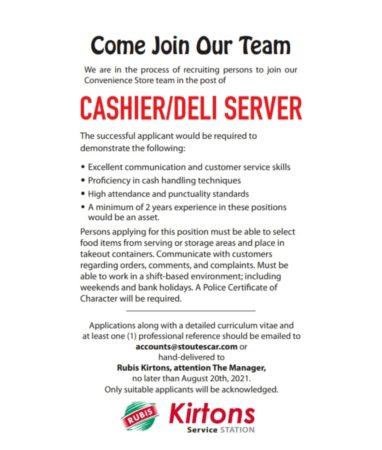Cashier/Deli Server Job, Barbados