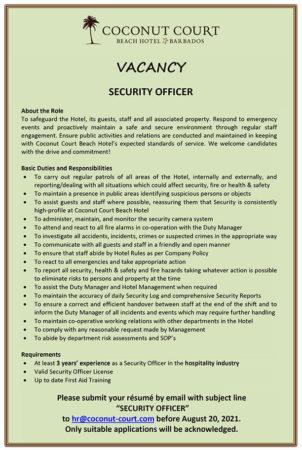 Security Guard, Barbados, Jobs