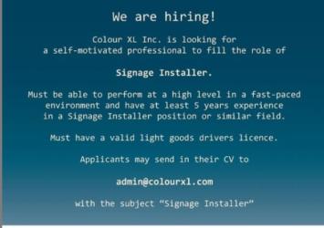 Signage Installer, Barbados, Jobs