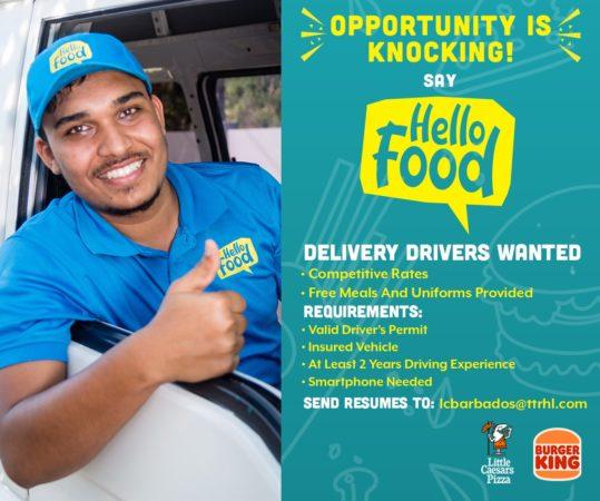 Delivery Driver job at Hello Food Barbados