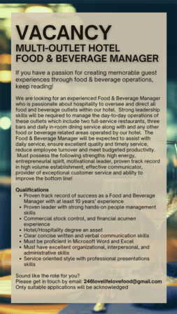 Food Beverage Manager job for hotel in Barbados