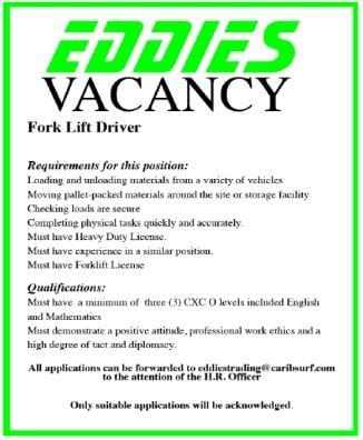 Fork Lift Driver job at Eddies Barbados