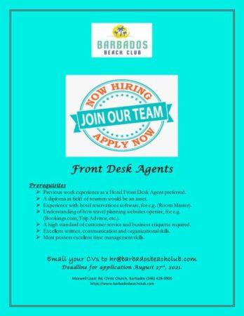 Front Desk Agents Job, Barbados
