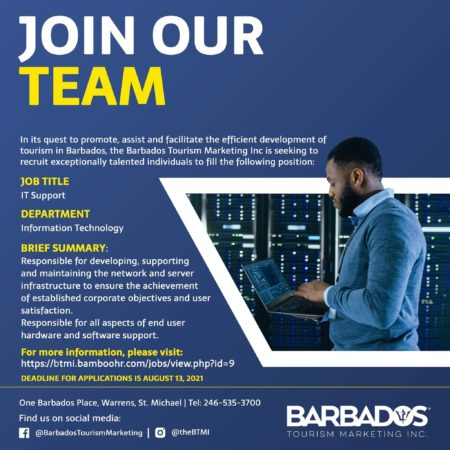 IT Support, Barbados Tourism, Jobs