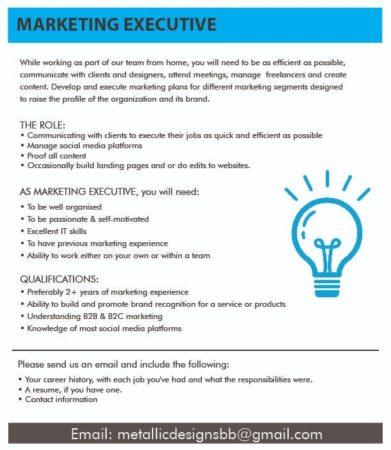 Marketing Executive Job, Barbados
