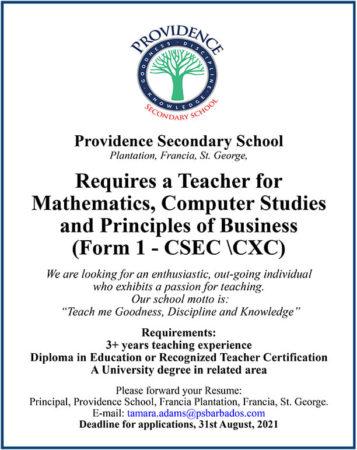 Mathematics, Computer Studies, Principles of Business Teacher Job Barbads