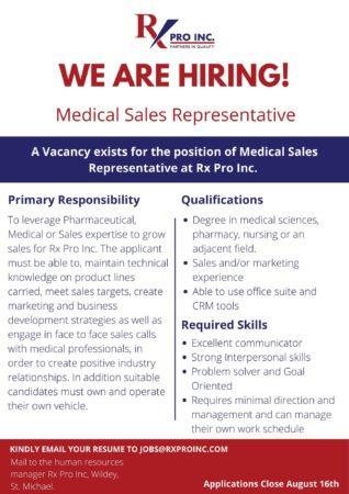 Medical Sales Representative, RX Pro Inc, Barbados, Jobs