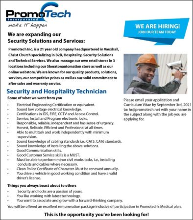 Security and Hospitality Technician job in Barbados