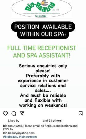 Receptionist Spa Assistant Job, Barbados