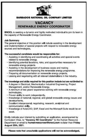 Renewable Energy Coordinator, Barbados, Jobs