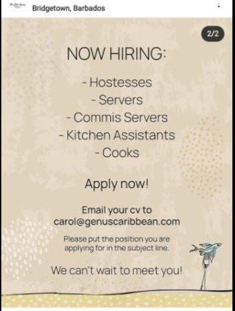 Restaurant jobs in Barbados