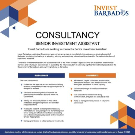 Senior Investment Assistant Job, Barbados