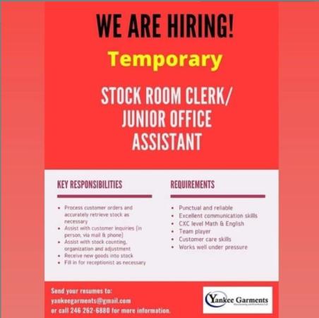 Store Room Clerk, Junior Office Assistant, Barbados, Jobs