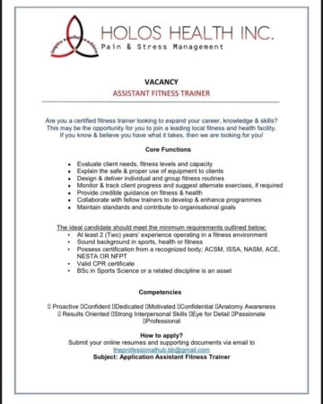 Assistant fitness trainer job in Barbados