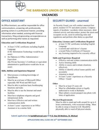 Barbados Union of Teachers jobs in Barbados