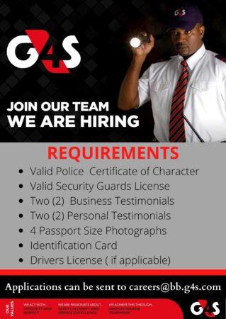 G4S Security guard job in Barbados