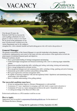 General Manager job at Barbados Golf Club
