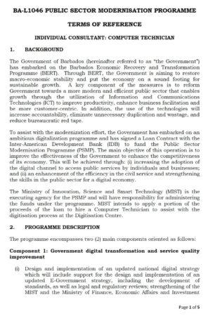 Government job posting in Barbados