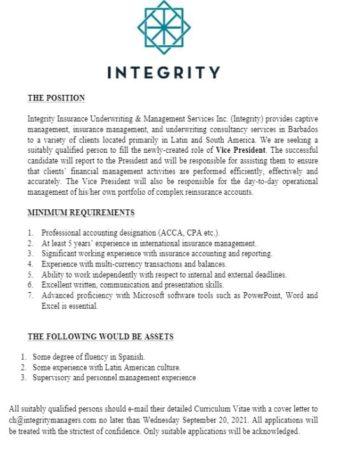 Vice President job at Integrity Barbados