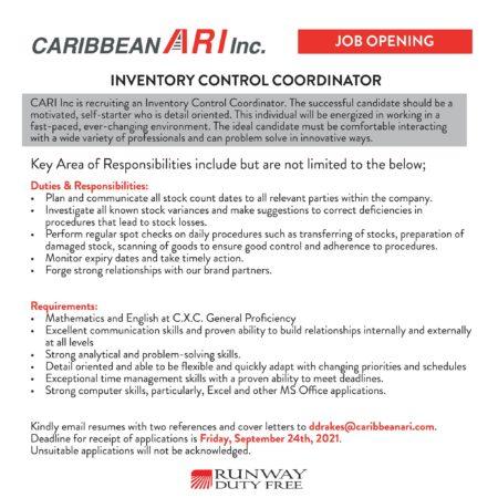 Inventory Control Coordinator job in Barbados