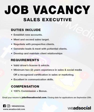 Sales executive job in Barbados