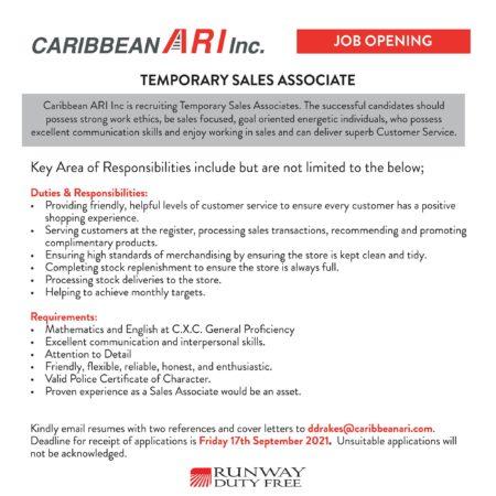 Temporary sales associate job in Barbados