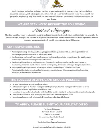 hotel jobs available in barbados