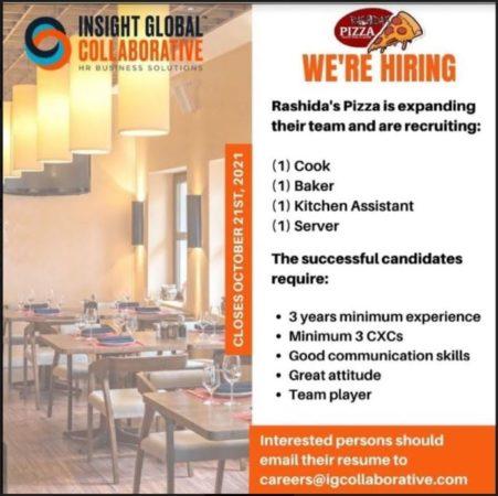 culinary jobs barbados