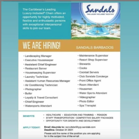 list of jobs available at Sandals hotel in barbados